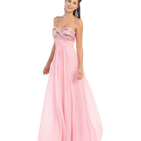Pink Jeweled Bodice Strapless Gown 2015 Prom Dresses