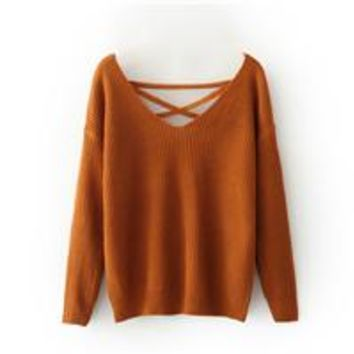 V Tied Rope Sweater