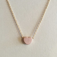 Rose Gold, Yellow Gold or Silver Block Heart Charm Necklace with Gold Chain/ Small Heart Pendant Necklace
