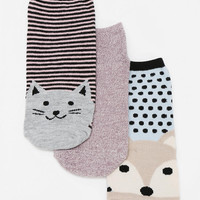 Animal Face No-Show Sock - Pack Of 3 - Urban Outfitters