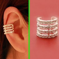 Full Rhinestone Rings Ear Cuff (Single, No Piercing) - LilyFair Jewelry