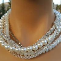 Pearl Necklace, Wedding Necklace, Bridal Jewelry with Multi strands Night Light-FREE SHIPPING