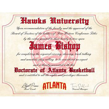"Atlanta Hawks Ultimate Basketball Fan Personalized Diploma - 8.5"" x 11"" Parchment Paper"