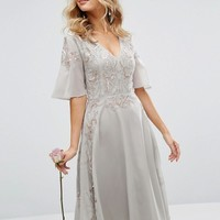 Maya Embellished Midi Dress with Fluted Sleeve with Lace Up Back at asos.com