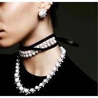 Fashion new choker pearl full drill multi-layer long section leather rope necklace