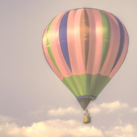Away in my magical pink balloon Art Print by Wood-n-Images