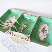 Vintage Limoges Tray Divided French Porcelain Hand Painted Flower Emerald Tray 3 Section Shabby Chic Victorian Kitchen Wedding Gift Hostess