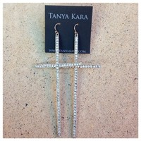 Crosses Glam Crystal Cross Statement Earrings- Tanya Kara Jewelry
