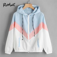 ROMWE Color Block Chevron Zip Up Jacket Drawstring Hooded Ladies Coats Spring Autumn Multicolor Casual Sporting Jackets