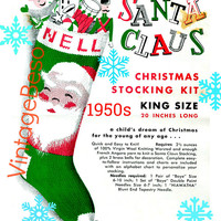 """Knit Christmas """"SANTA FACE"""" Stocking • PdF Pattern • Classic Knitting Pattern • Quick and Easy to Knit Vintage 1950s """"Nell"""" Columbia Minerva"""