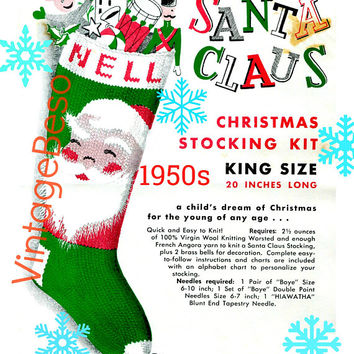 "Knit Christmas ""SANTA FACE"" Stocking • PdF Pattern • Classic Knitting Pattern • Quick and Easy to Knit Vintage 1950s ""Nell"" Columbia Minerva"