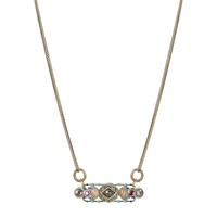 Bar pendant on double chain necklace w/ pink quartz, swarovski crystals and blue glass beads, handmade at Michal Golan studios USA
