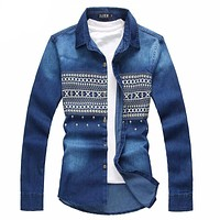 Big Size Men Denim Long Sleeve Cotton Casual Plus Sizes