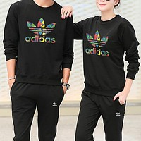 Adidas Women Men Fashion Casual Top Sweater Pants Trousers Set Two-Piece