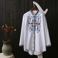 Gypisy Hippie Boho Ethnic Vintage Retro Camicia Donna Tunic Embroidery Cotton Long Sleeve Women Spring Blouse Shirts Fall Top