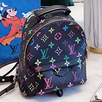 Hipgirls LV New fashion multicolor monogram print leather backpack bag handbag