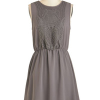 ModCloth Mid-length Sleeveless A-line Estate to Remember Dress in Grey