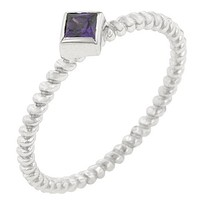 Twisted Petite Amethyst Solitaire Ring