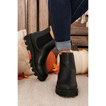 Step Aside Chunky Sole Faux Leather Booties (Black)