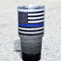 Custom Thin Blue Line Yeti Tumbler Glitter Yeti Police Wife gifts for her law enforcement Police Gifts Cops Cop Personalized Yeti red line
