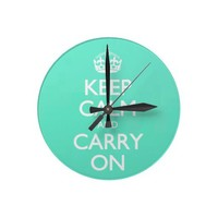 Mint Green Keep Calm And Carry On Pattern Clocks from Zazzle.com
