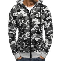 2018 Autumn Camouflage Hoodies Tracksuit Men Sweatshirts Zipper Cardigan Hip Hop Sportswear Jackets Slim Hoodie Plus Size White