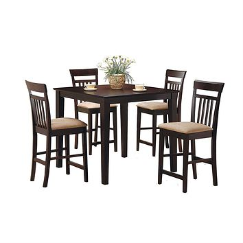Dark Brown 5-Piece Dining Room Set with 4 Counter Height Barstools