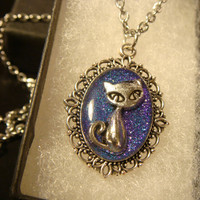 Small Cat Necklace - Blue / Purple Glitter Background (2251)