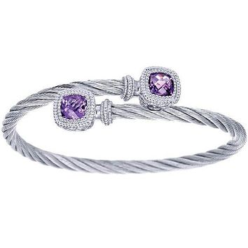 Gabriel Steel and Sterling Silver Purple Amethyst Cable Bangle