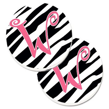 Monogram Initial W Zebra Stripe and Pink  Set of 2 Cup Holder Car Coasters CJ1037-WCARC