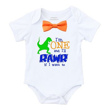 Dinosaur First Birthday Shirt Outfit Boy Rawr Orange Bow Tie