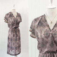 1970s vintage pink & grey sheer bohemian print dress boho India pattern draped midi // navy rose // size L