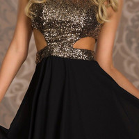 Gold Sequined Cutout Top Skater Dress with Flouncy Skirt