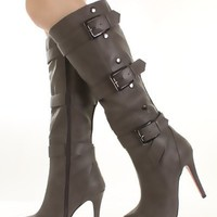Grey Faux Leather Triple Buckle Button Platform Knee High Boots @ Amiclubwear Boots Catalog:women's winter boots,leather thigh high boots,black platform knee high boots,over the knee boots,Go Go boots,cowgirl boots,gladiator boots,womens dress boots,skirt