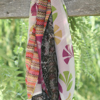 Double-sided Infinity Scarf made from fabric remnants