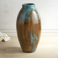 Blue & Brown Oval Floor Vase