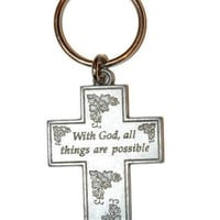 Vintage Cross Keychain, Pewter God Key Chain, Dark Silver Rare Collectors Item, Christian Catholic Religious Gift,  God Lord, Metal Keyring