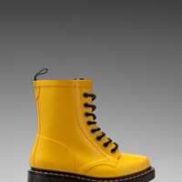 Dr. Martens Drench 8-Eye Rain Boot in Yellow Patent from REVOLVEclothing.com