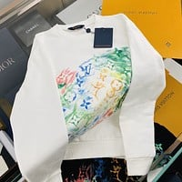 LV Fashion printed loose long sleeve knitted hoodie for men and women