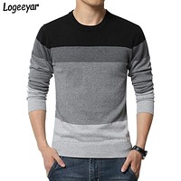 2017 New Brand Autumn Fashion Mens Sweater O-Neck Striped Slim Fit Knitted Sweaters Men Casual Pullovers Men Knitwear M-5XL
