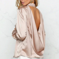 Draped Open Back Satin Top