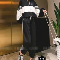"""Adidas"" Woman's Leisure Fashion  Letter  Personality Printing  Spell Color Hooded Stripe Long  Sleeve Tops Trousers Two-Piece Set Casual Wear"