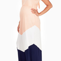 Pink-White-Navy-Blue-Colorblock-Maternity-Maxi-Dress