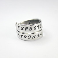 Expecto Patronum Ring, Harry Potter Fan Ring, Hand Stamped Aluminum Inspired Twist Wrap Ring