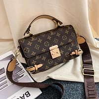 LV Louis Vuitton Colorblock Letter Print Shopping Tote Shoulder Bag Messenger Bag