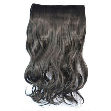 5 Cards Hair Extension Wig Long Curled Hair natural black