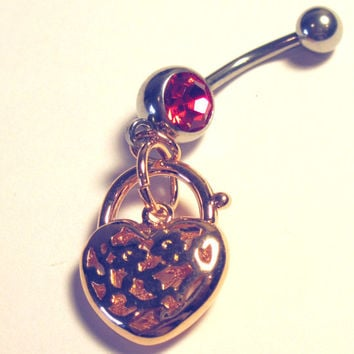 Navel Belly Ring Piercing Pink Gold Tone Heart Faux Lock Silver Tone Barbell