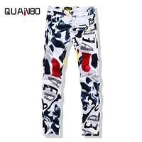 QUANBO Big size 28-44 2016 New white jeans men Fashion Printed slim straight jeans hombre  Casual Debris Pattern stretch jeans