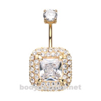 Golden Princess Magnificent Sparkle Belly Button Ring Stainless Steel Body Jewelry