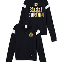 Pittsburgh Steelers Bling Boyfriend Half-Zip - PINK - Victoria's Secret